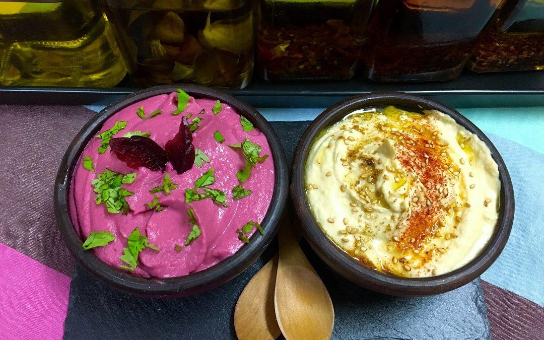 Hummus de garbanzos & de remolacha