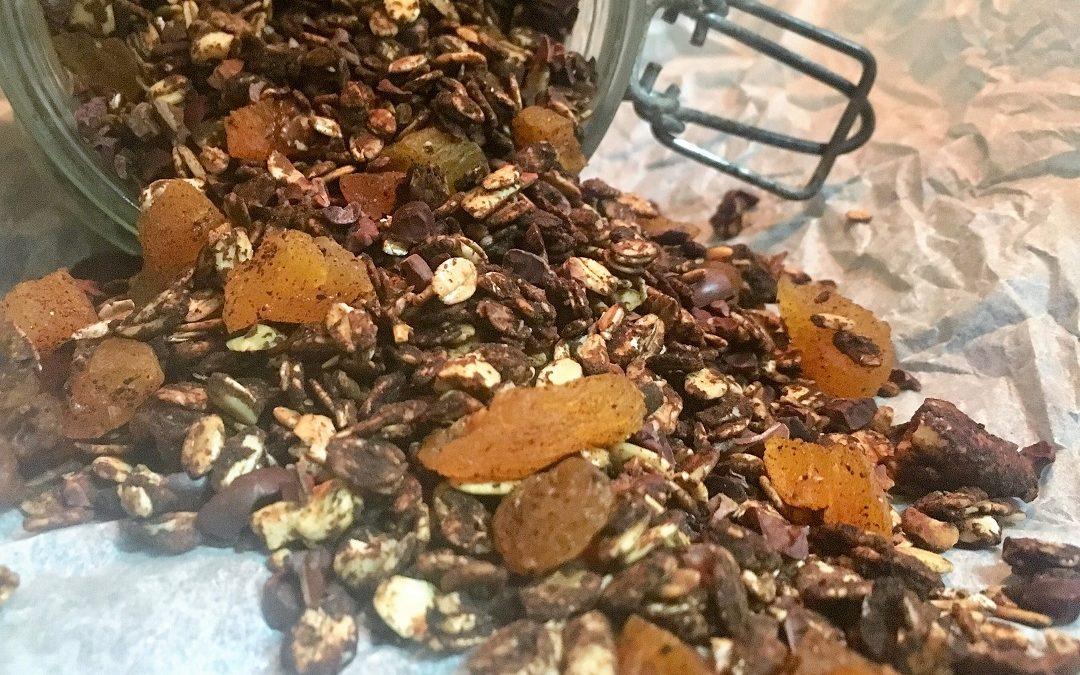 Granola de cacao y algarroba
